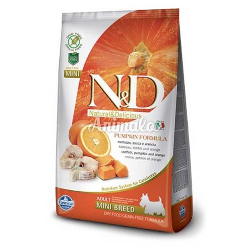 נטורל אנד דלישס ללא דגנים מיני לכלב דג ודלעת 7 ק''ג N&D
