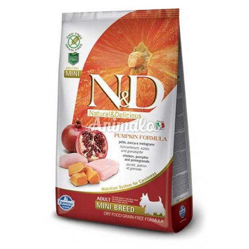 נטורל אנד דלישס ללא דגנים מיני לכלב עוף ודלעת 7 ק''ג N&D