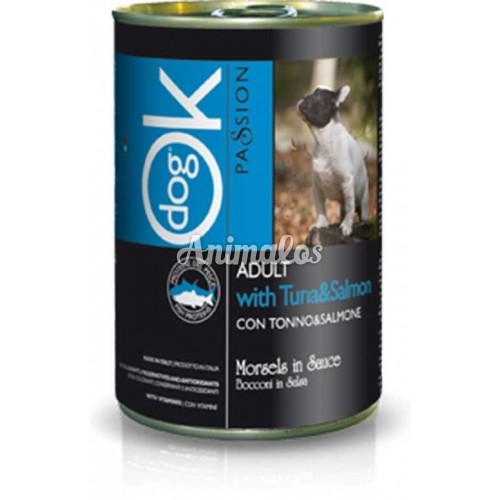 שימורים אוקי לכלב טונה וסלמון 440 גרם