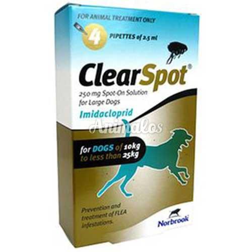 """אמפולות קליר ספוט 250 לכלב 10-25 ק""""ג clear spot"""