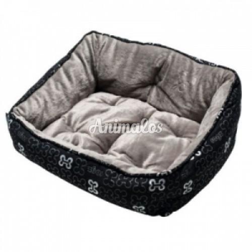 ROGZ - מיטה אופנתית עצמות שחור אפור מידה סמול לכלב קטן | חתול